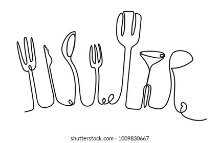 Cooking Seamless Pattern. One Line style Utensils. Outline Drawing of Isolated Kitchen Cutlery. Use for kitchen classes, restaurant, shop, bar, cafe, bakery. Vector illustration