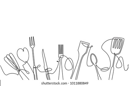 Cooking Seamless Pattern. Outline Cutlery Background. One Line Drawing of Isolated Kitchen Utensils. Cooking Design Poster. Vector illustration.