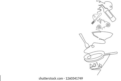 Cooking Seamless Vertical Pattern. Background with Utensils and empty space for text. Continuous drawing style. Vector illustration.