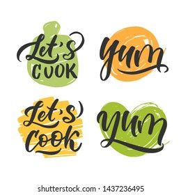 Cooking set lettering. Hand drawn. Composition for badges, labels, logo, bakery, street festival, farmers market, country fair, shop, kitchen classes, cafe, food studio, stories, posts