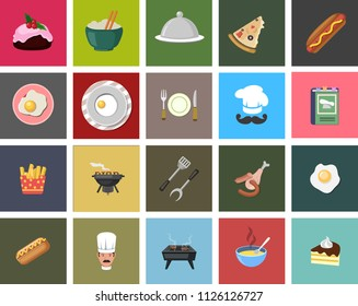 Cooking Set - Vector Icons. Contains such Icons as Frying Pan, Boiling, Flavoring, Blending and more food