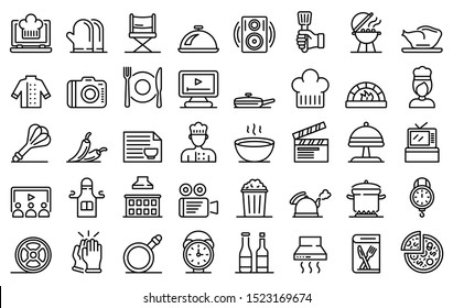 Cooking show icons set. Outline set of cooking show vector icons for web design isolated on white background