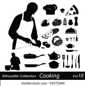Cooking silhouettes:chef in the kitchen
