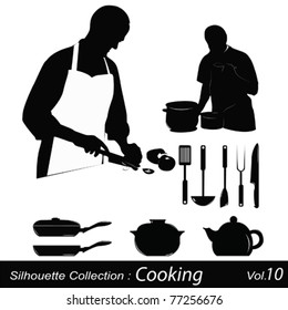 Cooking silhouettes:chef preparing a meal
