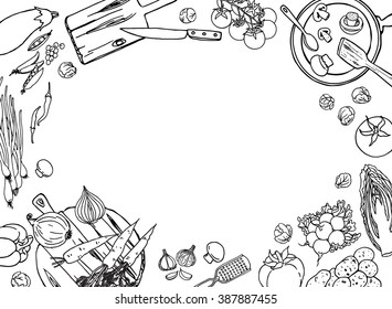 Cooking sketchy banner. Top view kitchen frame with vegetables and dishes for design. Black and white food background