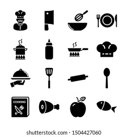 cooking solid icons vector design