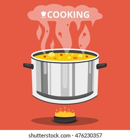 Cooking soup in pan. Pot on stove with steam. Flat vector illustration.