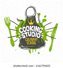 Cooking studio, culinary school, classes, logo, utensils, apron, fork, knife, crown. Lettering, calligraphy logo, sketch style, design, graphics, royal. Hand drawn vector illustration.