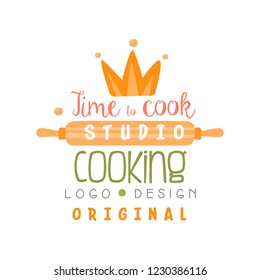 Cooking studio, time to cook logo design, emblem can be used for culinary class, school, course hand drawn vector Illustration