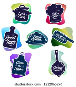 Cooking Stuff with Catchy Tagline emblem Object Illustration Stock Vector Set