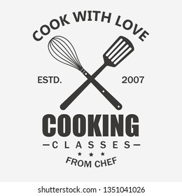 Cooking symbol, Cook emblem, Food masterclass label template, Culinary school, food workshop, chef kitchenware, cooking courses. vector