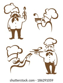 cooking symbols, food and chef silhouettes, vector collection emblems for your emblems
