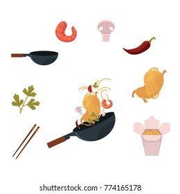 Cooking Thai, Japanese, Chinese noodle in wok - pan and ingredients, cartoon vector illustration isolated on white background. Thai, Chinese cuisine - wok, noodle, shrimps, mushroom, chopstick, chilli