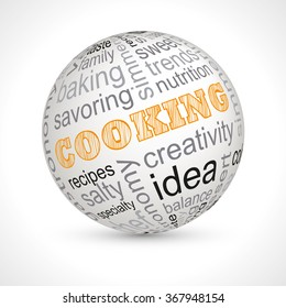 Cooking theme sphere with keywords full vector