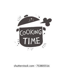 Cooking time. Lettering. Hand drawn vector illustration. Can be used for badges, labels, logo, bakery, street festival, farmers market, country fair, shop, kitchen classes, cafe, food studio.
