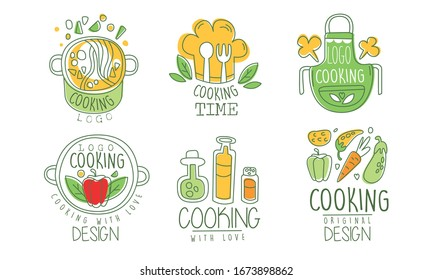 Cooking Time Logo Design Collection, Culinary Class, Kitchen, Cuisine Hand Drawn Badges Vector Illustration