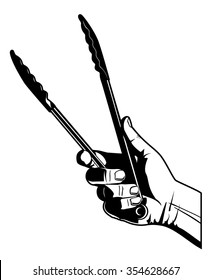 Cooking Tongs. Black and white vector illustration of a hand holding a pair of cooking tongs.