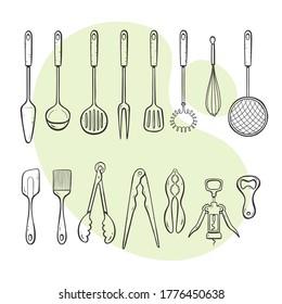 Herramientas de cocina. Colección de suministros de cocina para cocinar, servir, agitar y abrir. Colección de estilos dibujada a mano y delineada.