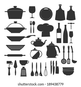 Cooking tools and dishes icons set