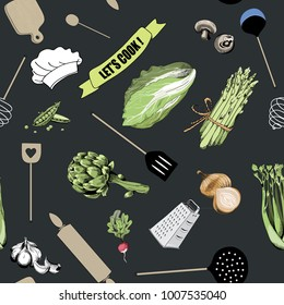 Cooking tools seamless pattern. Vector illustration of  wooden spoon, cutting board, knife and roller  with various types of vegetables on dark background