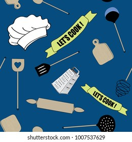 Cooking tools seamless pattern. Vector illustration of  wooden spoon, cutting board, knife and roller on dark blue background