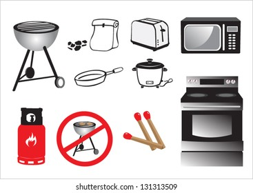 Cooking Tools Vector Graphics. Isolated in White icons that can be changed to any color.