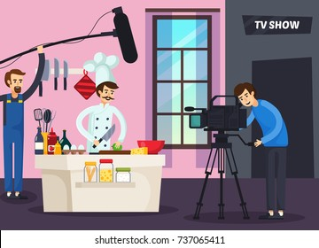 Cooking tv show orthogonal composition with chef preparing food, cameraman and sound man in studio vector illustration