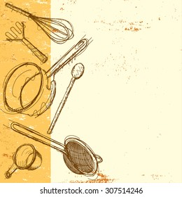 Cooking utensil background Sketchy, hand drawn kitchen utensils on an abstract background. The items are a whisk, potato masher, wooden spoon, cooking pot, strainer, and measuring cup.