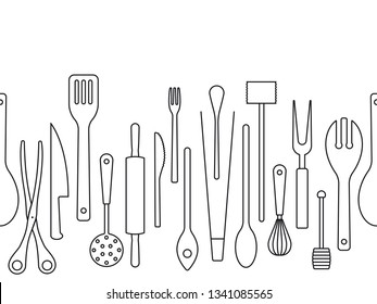 Cooking utensils outlines seamless border vector illustration