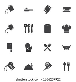 Cooking utensils vector icons set, modern solid symbol collection, filled style pictogram pack. Signs, logo illustration. Set includes icons as tea kettle, coffee pot, colander, cook hat, cutlery