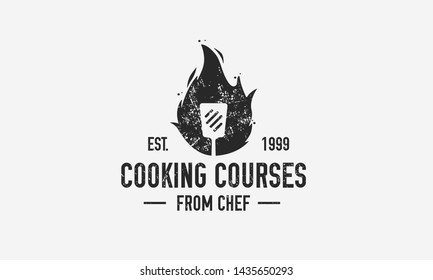 Cooking vintage logo with grunge texture. Cooking Courses template logo with spatula. Modern design poster. Label, badge, poster for food studio, cooking courses, culinary school. Vector illustration