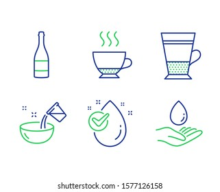Cooking water, Champagne bottle and Water drop line icons set. Espresso, Double latte signs. Glass, Anniversary alcohol, Clean aqua. Hot drink. Food and drink set. Vector