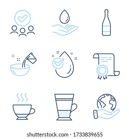 Cooking water, Champagne bottle and Water drop line icons set. Diploma certificate, save planet, group of people. Espresso, Double latte signs. Glass, Anniversary alcohol, Clean aqua. Vector