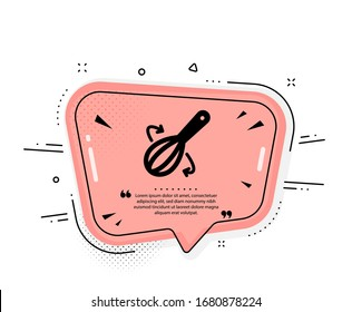 Cooking whisk icon. Quote speech bubble. Cutlery sign. Food mix symbol. Quotation marks. Classic cooking whisk icon. Vector