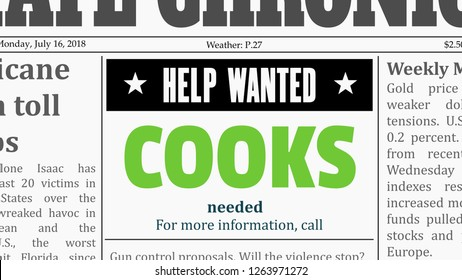 Cooks job offer - restaurant career. Newspaper classified ad in fake generic newspaper.