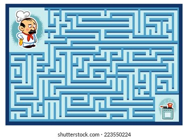 Cook's Maze Game (help the Cook find his Stove - Maze vector puzzle)