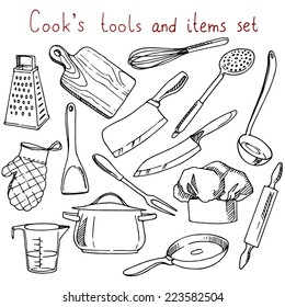Cook's tools and items set. Hand-drawn design elements. Vector illustration with items for cooking.