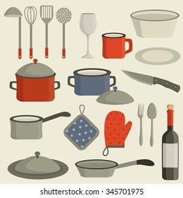 Cookware. Kitchen utensils. Vector set