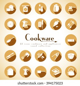 Cookware and kitchenware equipment set of flat icons round style for food preparation. Modern design style vector collection of 22 illustration elements.