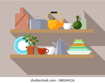 cookware on shelves
