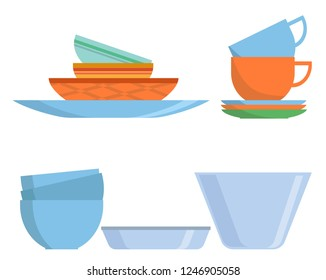 Cookware set icon in flat style. Colorful Dishes isolated on white background. Kitchen household cutlery, cups and ceramic plate. Tableware and crockery. Vector illustration