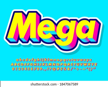 Cool 3d pop art font for headline text effect. Colorful yellow, blue and pink alphabet blue background. 3d extrude font with shadow and double outline. Alphabet, number and symbol