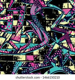 Cool Abstract bright graffiti pattern. With bricks, paint drips, words in graffiti style. Graphic urban design for textiles, sportswear, prints.