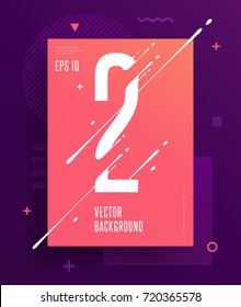 Cool abstract numbers poster with minimal design. Number 2. Abstract background with modern bright geometric elements. Dynamic liquid ink splashes number. Eps10 vector template for your art