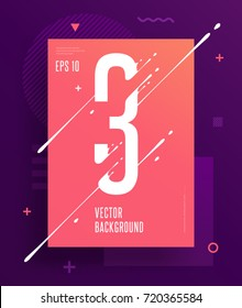 Cool abstract numbers poster with minimal design. Number 3. Abstract background with modern bright geometric elements. Dynamic liquid ink splashes number. Eps10 vector template for your art