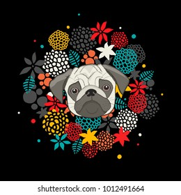 cool animal print with pug isolated on black background. Floral artistic illustration in vector.