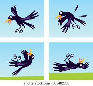 Cool animation flight funny black and violet birds