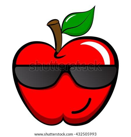 Cool Apple Emoticon Emoji Cool Happy Stock Vector Royalty Free