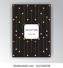 Cool art deco page template, golden chains and cubes, geometric background , elegant template for print and web .