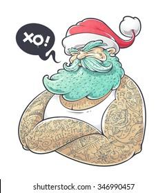 Cool art of tattooed Santa Claus. Hipster Santa vector illustration.